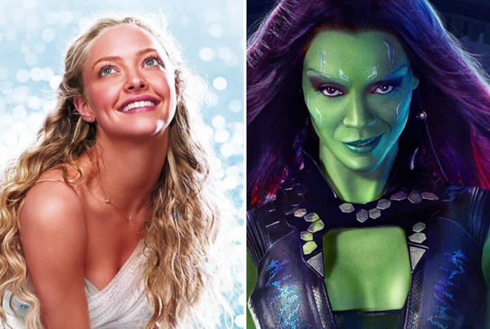 A sinistra Amanda Seyfried in Mamma Mia! e a destra la Gamora dei Guardiani della Galassia