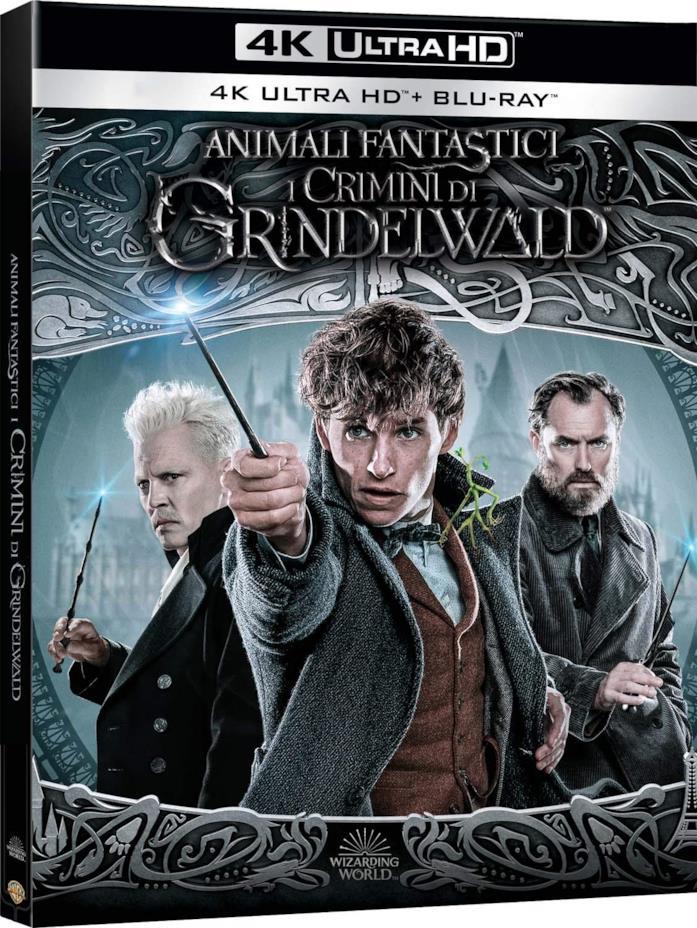 La copertina del Blu-ray 4K UHD di Animali Fantastici: I Crimini di Grindelwald