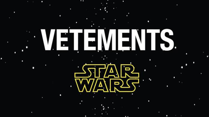Vetements e Star Wars loghi su sfondo spaziale