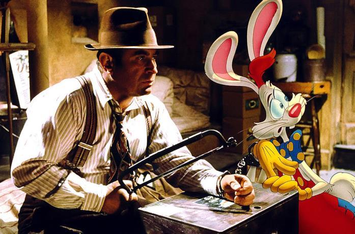 Bob Hoskins e Roger Rabbitt durante un inseguimento in Chi ha incastrato Roger Rabbit