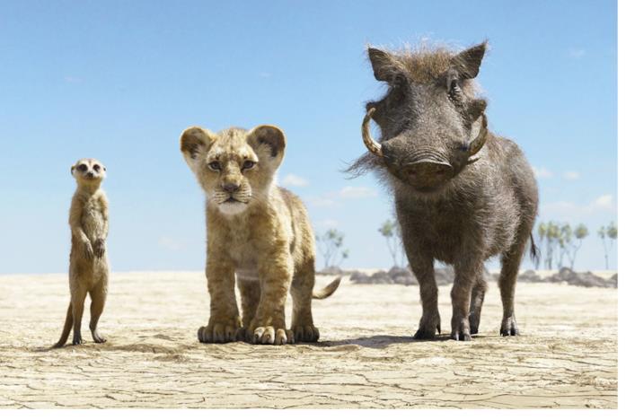Simba insieme a Timon e Pumbaa
