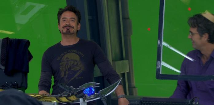 Robert Downey Jr. sul set di The Avengers
