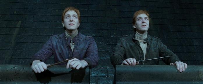Fred e George prima della Battaglia di Hogwarts