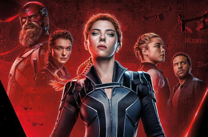 Poster promozionale di Black Widow, in primo piano Scarlett Johansson