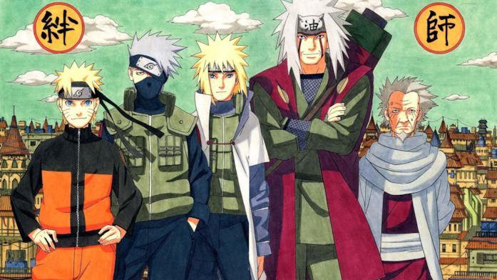 Il Quarto Hokage con Naruto e i suoi sensei