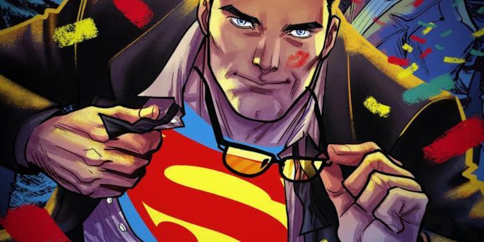 Mezzobusto disegnato di Superman/Clark Kent mentre si sbottona la camicia e si toglie gli occhiali