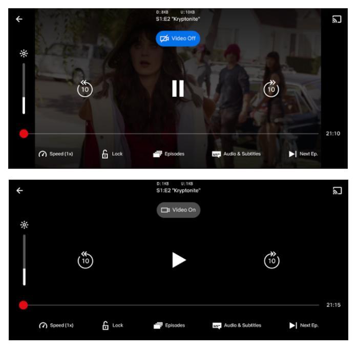 Sopra la modalità 'schermo acceso', sotto quella 'schermo spento' di Netflix per Android