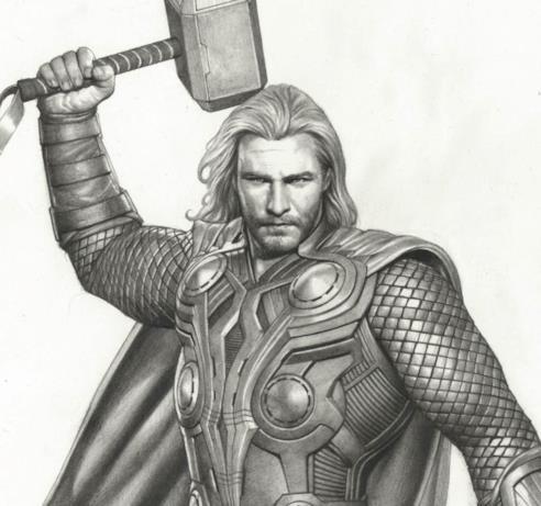 Thor, in bianco e nero, alza lo scudo