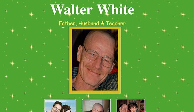 Home page del sito web SaveWalterWhite.com