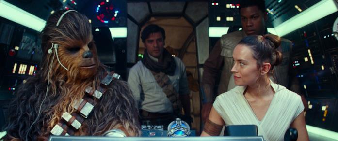 I protagonisti di Episodio IX sul Millennium Falcon