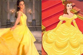 Emma Watson e Belle nel film d'animazione con l'abito giallo