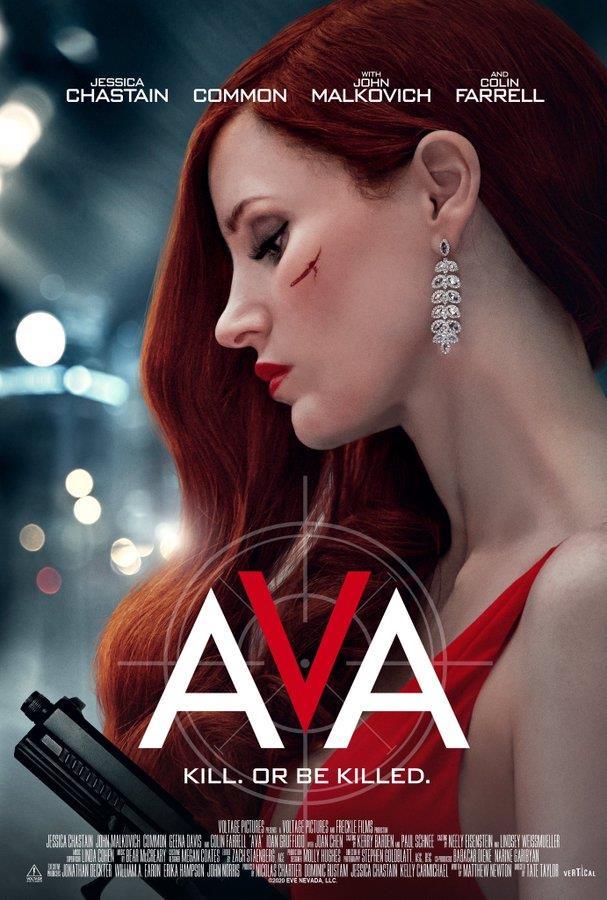 Jessica Chastain vestita di rosso nel poster di Ava