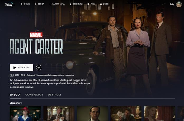 La serie tv agnet carter su Disney plus Italia
