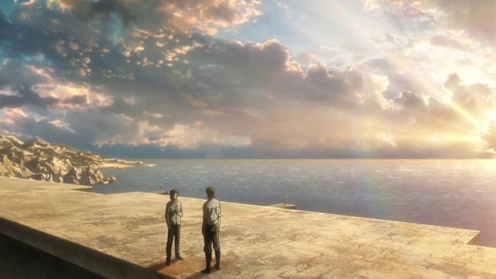 Eren e Grisha discutono sulle coste dell'isola di Paradis