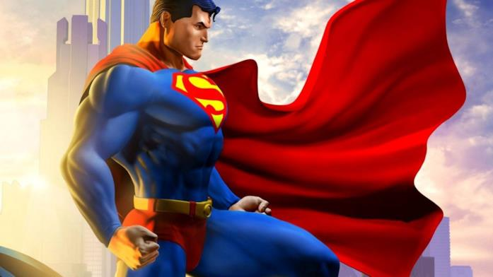 Disegno di Superman con mantello svolazzante, che si staglia contro il cielo