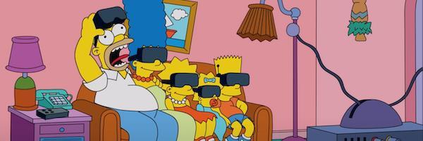 I Simpson sul divano con i visori per la realtà virtuale