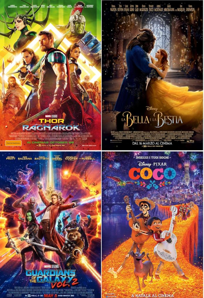Collae poster di Thor:Ragnarok, La Bella e La Bestia, Guardiani della Galassia Vol. 2 e Coco