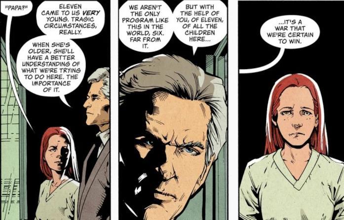 Immagini del fumetto in cui il Dottor Brenner e Francine parlano di Undici