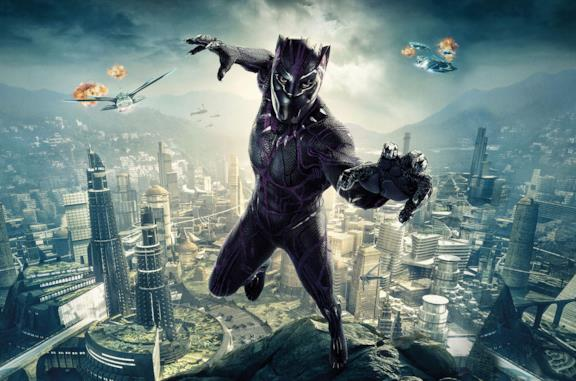Black Panther in un poster promozionale del film Black Panther del 2018