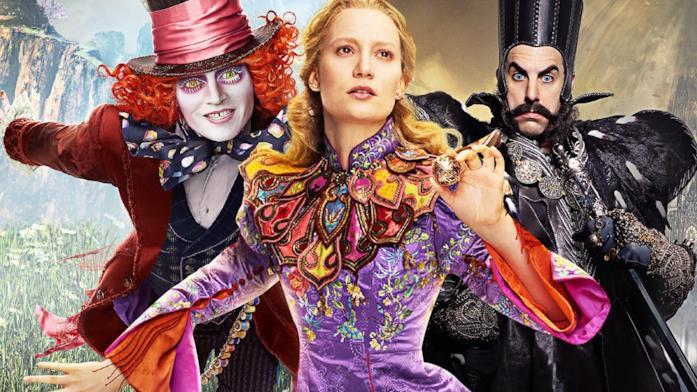 Mia Wasikowska, Johnny Depp e Sacha Baron Cohen