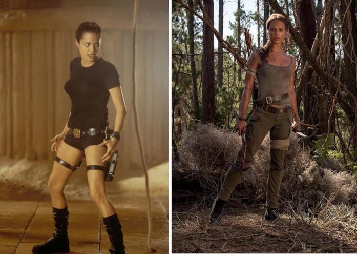 Collage di Angelina Jolie e Alicia Vikander nel ruolo di Lara Croft