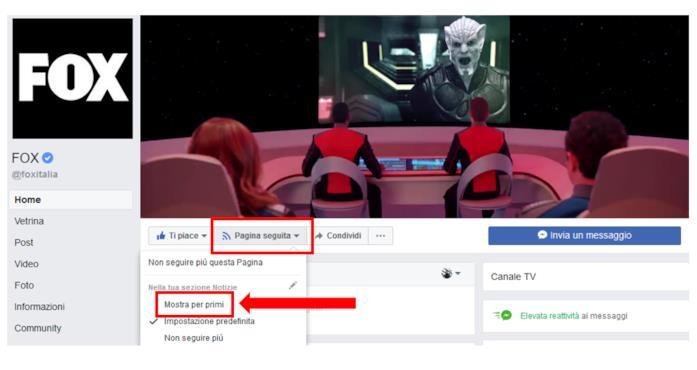 Tutorial: secondo passaggio per dare priorità alle tue pagine preferite su Facebook: cliccare su 'Mostra per primi'