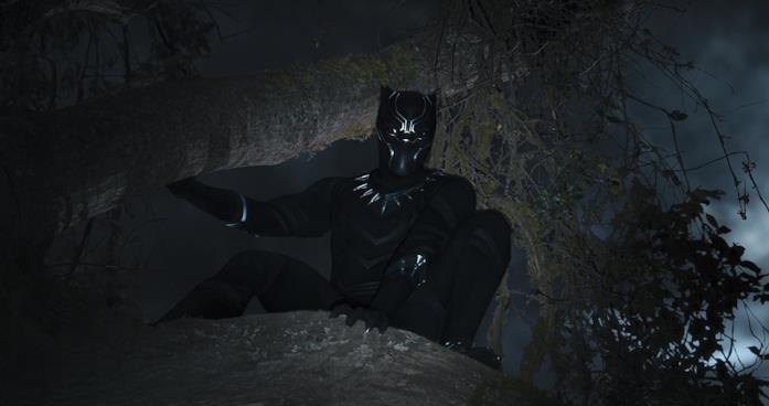 Black Panther in una scena del film