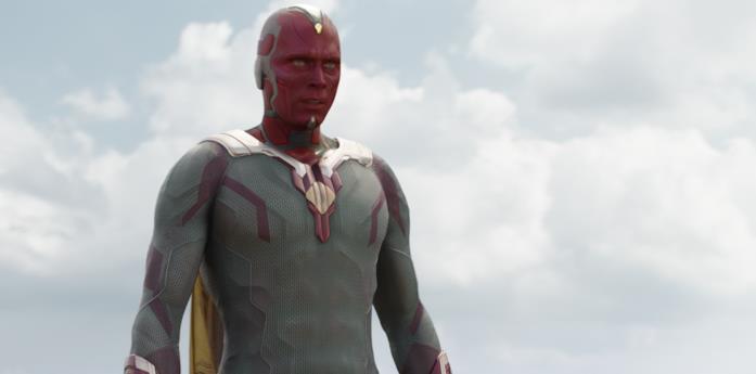 Paul Bettany in una scena del film Captain America: Civil War