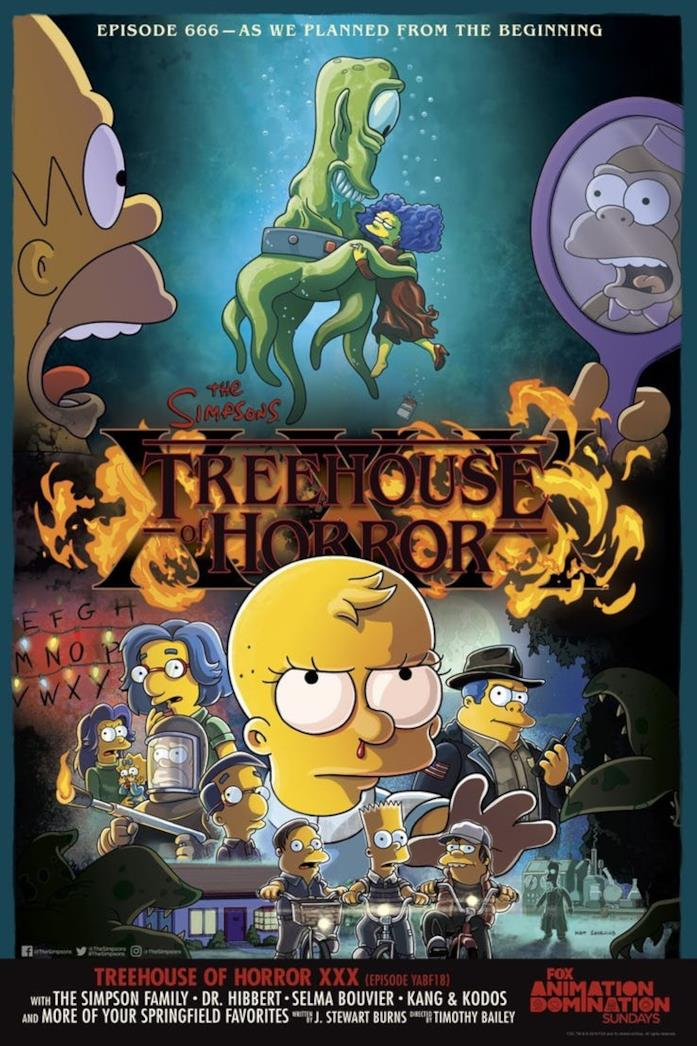 I protagonisti dei Simpson nel poster de La paura fa novanta
