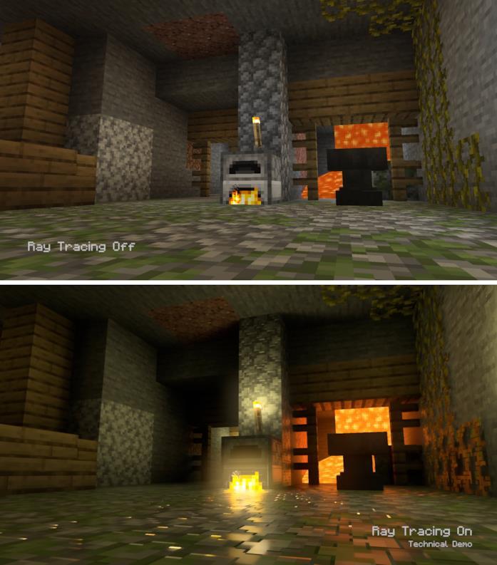Screen di Minecraft senza (sopra) e con (sotto) tecnologia Ray Tracing