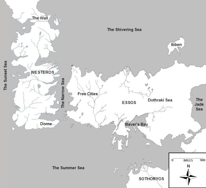 La mappa di Westeros ed Essos