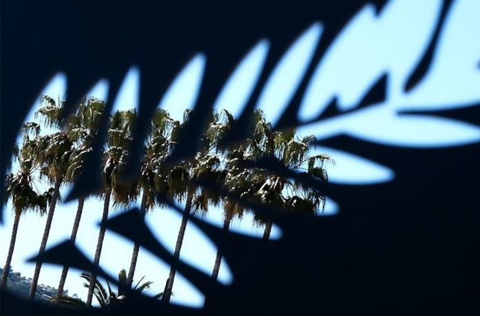 Una fila di palme viste attaverso una lastra intagliata con il logo di Cannes