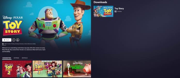 La schermata di tutti i download su Disney+