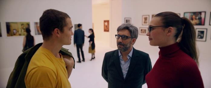 Karl Glusman, Gaspar Noé ed Aomi Muyock in una scena del film Love
