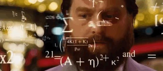 GIF ironica con il volto di un uomo avvolto da formule di matematica