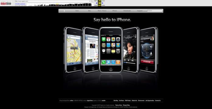 La home del sito di Apple del 30 giugno 2007
