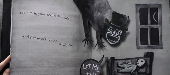 """Nel libro pop-up """"Mr. Babadook"""", il mostro incombe su un piccolo bambino"""