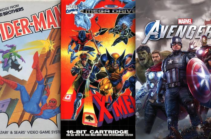 Le cover di tre videogiochi Marvel: Spider-Man, X-Men e Marvel's Avengers