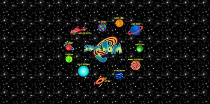 L'homepage del sito di Space Jam