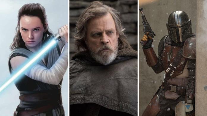 Da sinistra a destra: Rey, Luke Skywalker e il mandaloriano della serie The Mandalorian