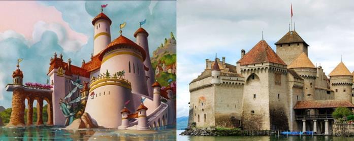 Il castello di Chillon e il castello del film La Sirenetta a confronto