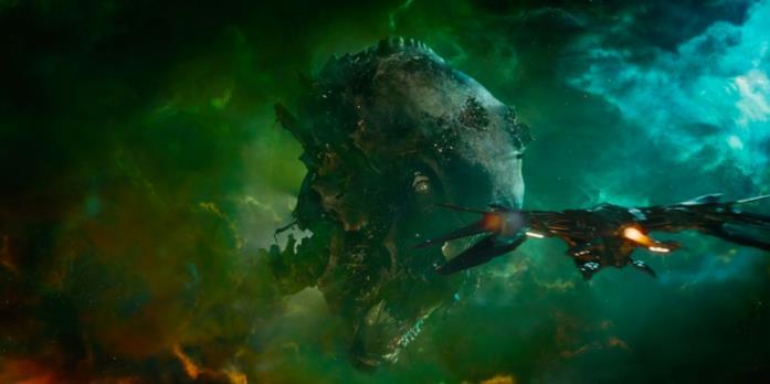 La testa di un gigantesco Celestiale morto si mostra in Guardiani della Galassia