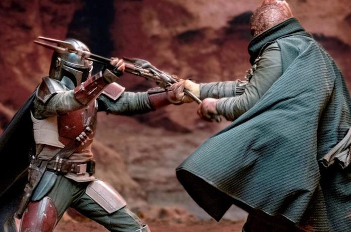 Il mandaloriano in una scena di combattimento