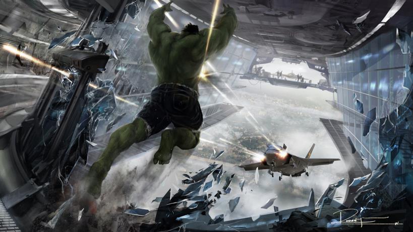 Il salto di Hulk verso il jet che gli sta sparando