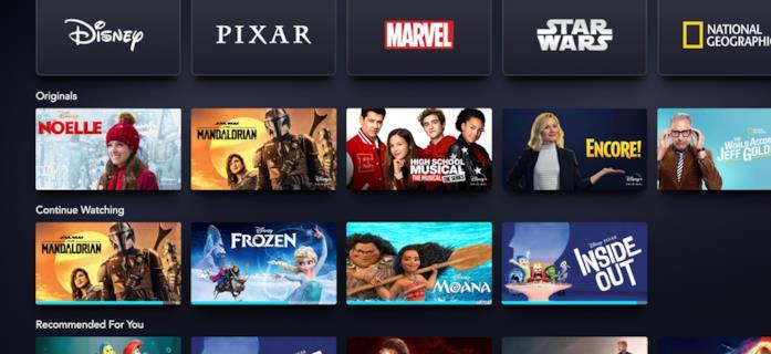 La Home del servizio Disney+ con la nuova sezione 'Continue Watching'