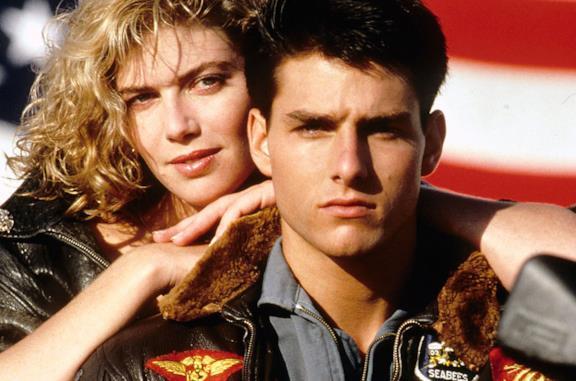 Kelly McGillis e Tom Cruise nel poster di Top Gun