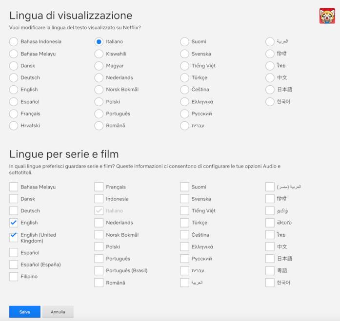 Le opzioni per cambiare Lingua di visualizzazione e Lingue per serie e film di Netflix