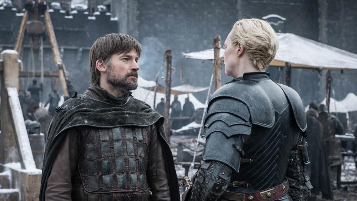 Nikolaj Coster-Waldau e Gwendoline Christie in Game of Thrones 8x02