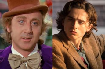 Willy Wonka nel film originale e Timothée Chalamet sul set di Woody Allen