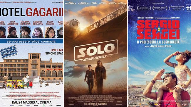 I poster dei film Hotel Gagarin, Solo: A Star Wars Story, Sergio e Sergei